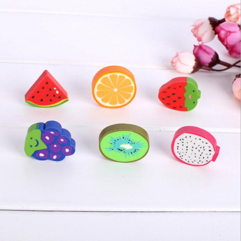 2pcs/lot New Small Cute Kawaii Fruit Orange Watermelon Grape Eraser Random Student Gift Prize School Office Stationery Supplies