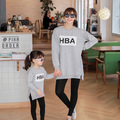 Spring autumn mother daughter t-shirts letter printed t shirts long sleeve matching mother daughter clothes mommy and me clothes