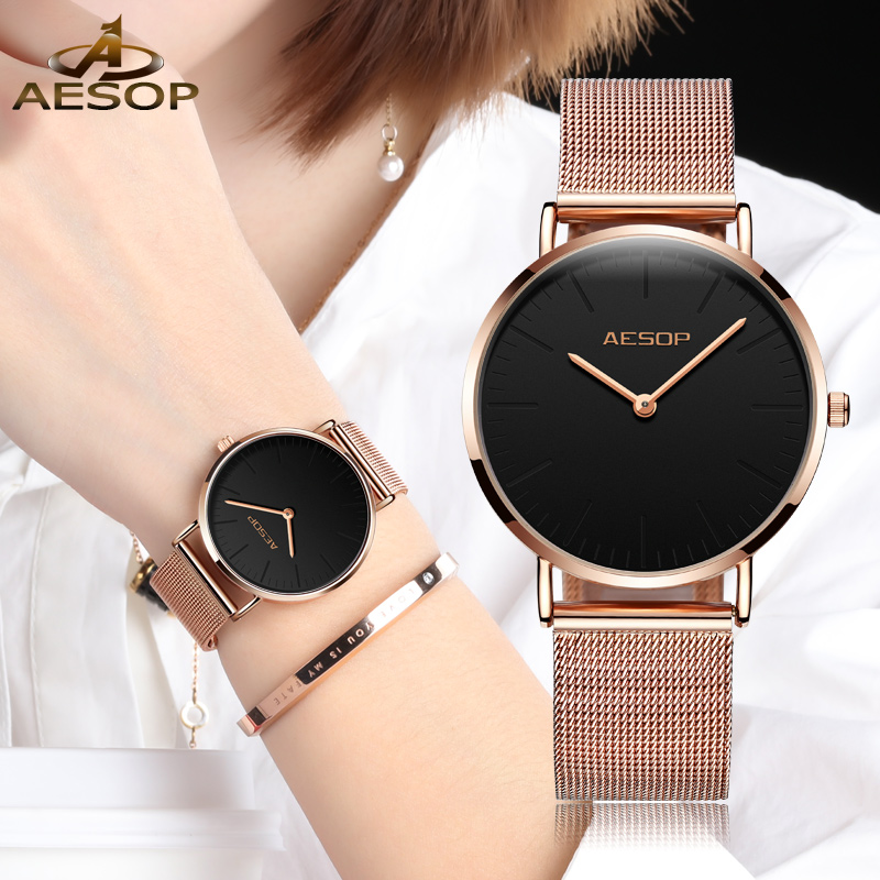 купить AESOP Top Brand Luxury Fashion Women Watches Ladies Rose gold steel bracelet Quartz Wrist watch Montre Femme Relogio feminino по цене 293.75 рублей