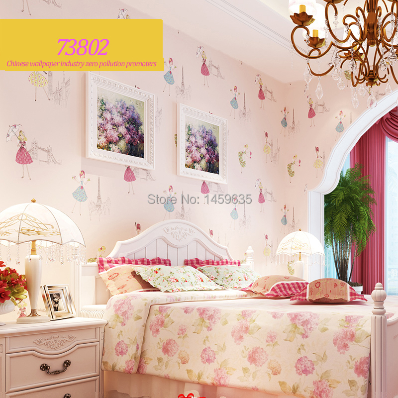 2016 High Quality Dancing Girl Living Room Wallpaper Pink Yellow Light Blue Wallpapers For Kids