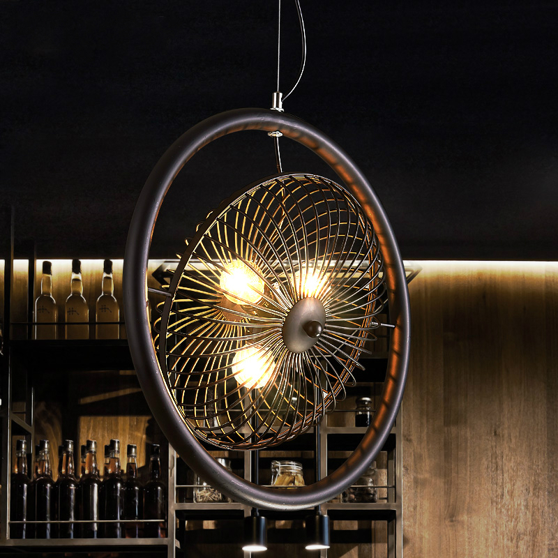 Retro industry fans pendant lights for Restaurant Bar Cafe cage industrial imitation bronze 3 heads Iron Fan pendant lamps ZAG