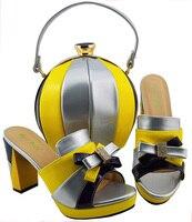 Смешанный цвет в африканском стиле aso ebi Свадебная вечеринка обувь и комплект с сумкой под кружевной ткани платье новые моды дизайн SB8142 1