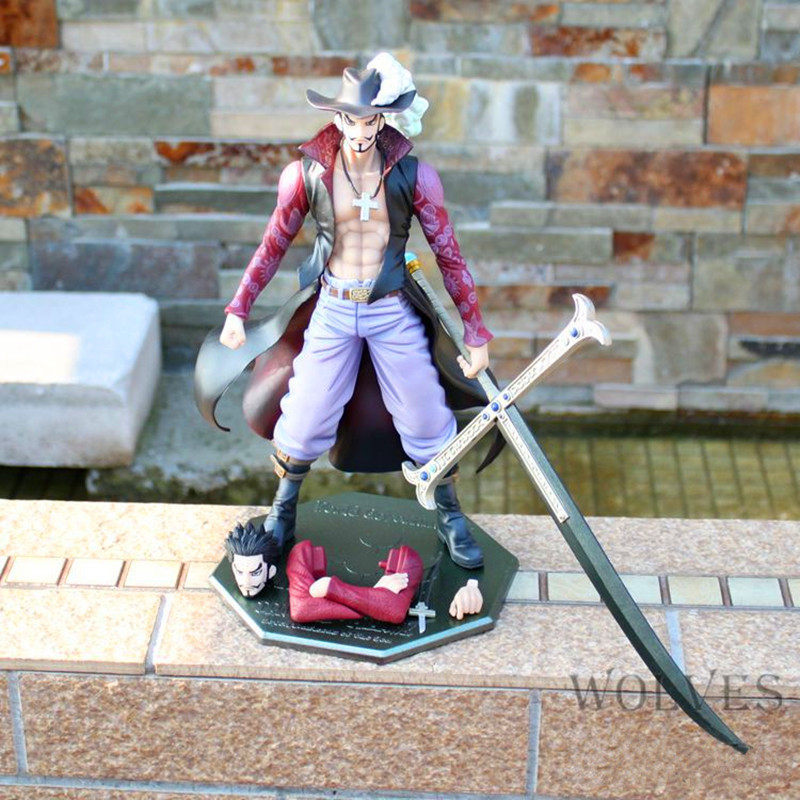 Anime One Piece POP DX Hawk Eye Dracule Mihawk Ver.2 10th Anniversary 26cm PVC Action Figure Collectible Model Toy Boxed W174 22cm anime one piece pop dracule mihawk pvc action figure collection model toy op054