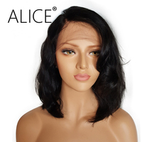 ALICE Lace Front Human Hair Wigs Wavy Density 130 Natural Color 8 24 Inches Brazilian Human
