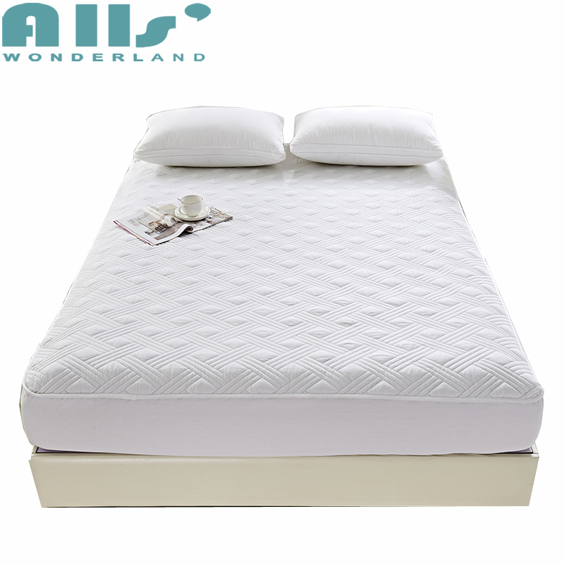 Mattress Protector 100% Cotton fabric microfiber filler quilted fitted sheet with elastic full cover to protect bed mattress