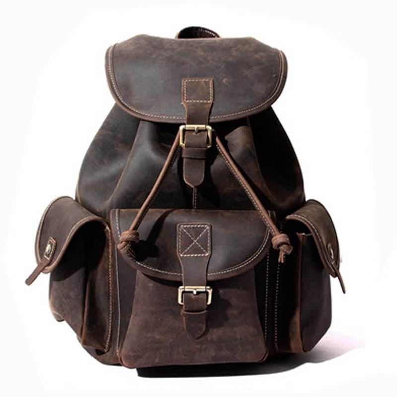 YISHEN Unisex Vintage Fashion Backpack Crazy Horse Genuine Leather Women Men Travel Backpack School Bags For Teenager MS8891 все цены