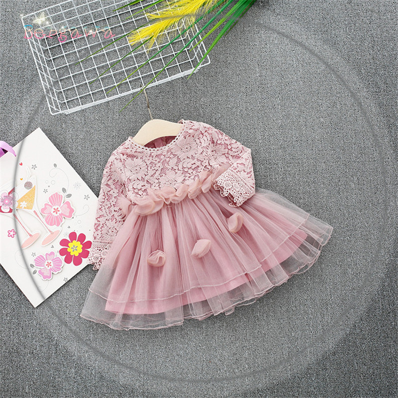 2018 Spring Long Sleeve Mesh Patchwork Lace Baby Wedding Party Girls Kids Princess Fairy Infants Ball Gown Dress Vestidos S6351 fall girls princess dress set kids mesh vest robe and long sleeve t shirt 2pcs suit ball gown party clothing for 4y 14y