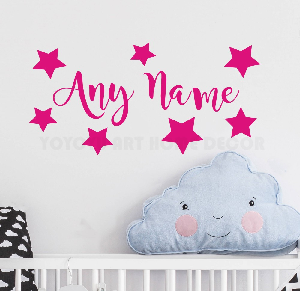Personalized Any Name Wall Sticker Art Stars Decal Kids Bedroom Vinyl Nursery Room Children Mural AY1171