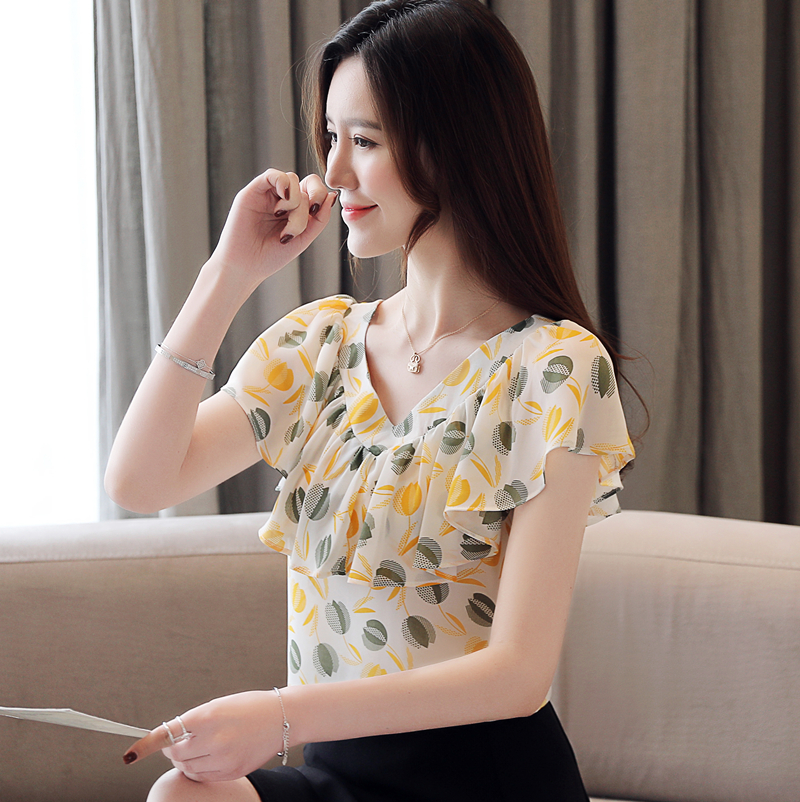 Korean Fashion Chiffon Women Blouses Ruffles Womens Shirts Womens Tops and Blouses Plus Size Blusas Femininas Elegante in Blouses amp Shirts from Women 39 s Clothing