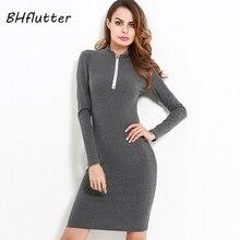 Bhflutter водолазки зима платье Для женщин с длинным рукавом на молнии осень вязаное платье миди Винтаж карандаш Платья для женщин Vestidos