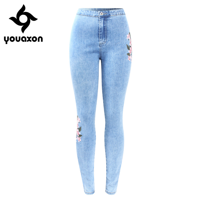 a7639358c 2157 Youaxon New Arrived High Waist Embroidery Jeans Woman Big Size  Stretchy Flower Denim Skinny Pencil