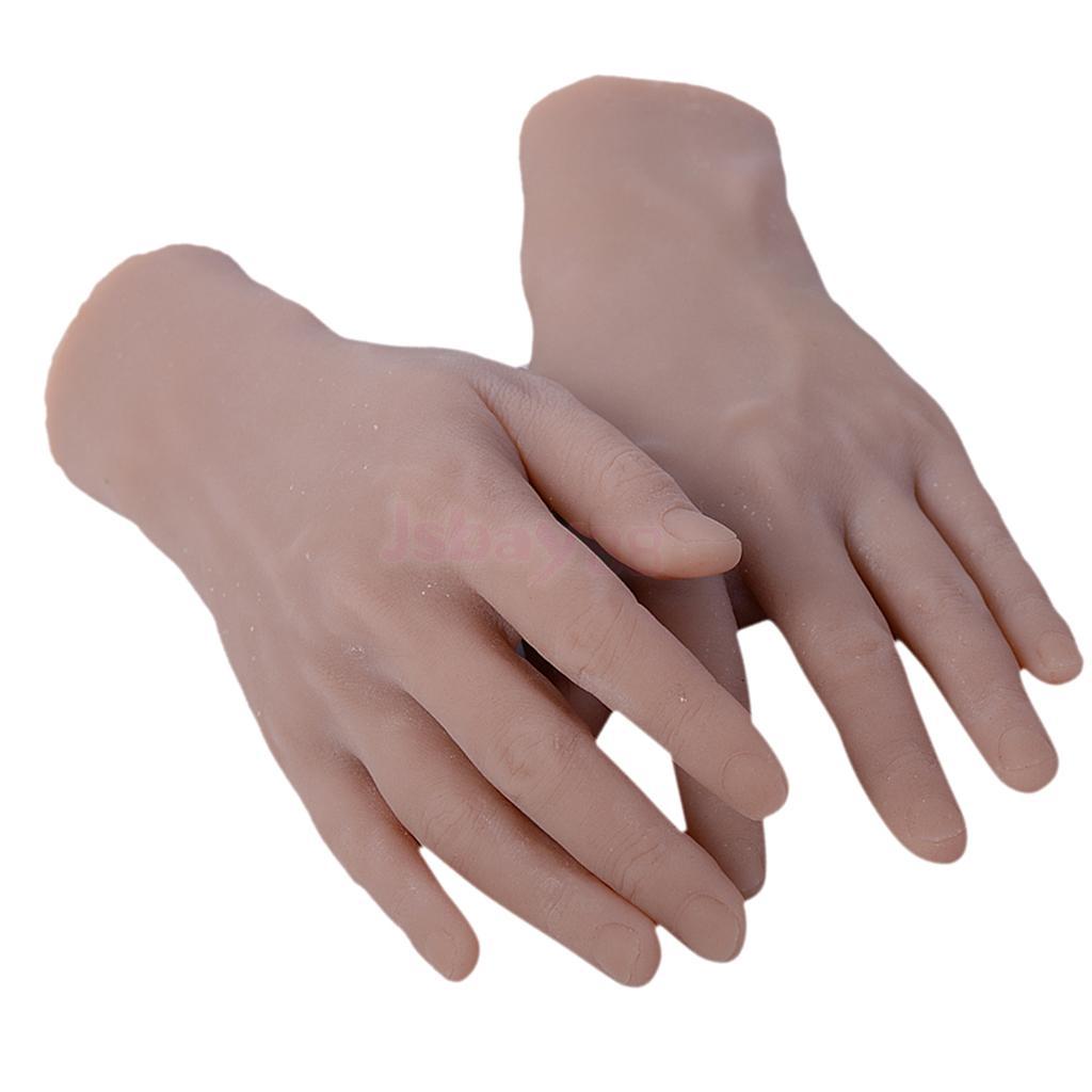 2Pcs Soft Practice Hand Model 3D Flexible 1:1 Adult Mannequin Fake Skin Salon Tattoo Nail Art Training Display Tool