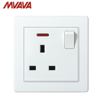 MVAVA UK 13A Wall Socket United Kingdom Standard Switched 13A Electric Outlet Plug 1 Gang 110 250V With light Free Shipping