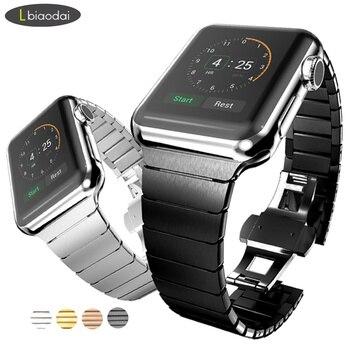 ea1531093fc74 Enlace pulsera para apple watch banda 42mm 38mm 44mm 40mm iwatch 4 3  2  banda correa de metal de acero inoxidable correa de reloj para apple watch 4
