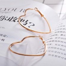 Geometric Heart Silver Champagne Gold Color Zinc Alloy Stainless Steel Women Big Trendy Elegant Hoop Earrings