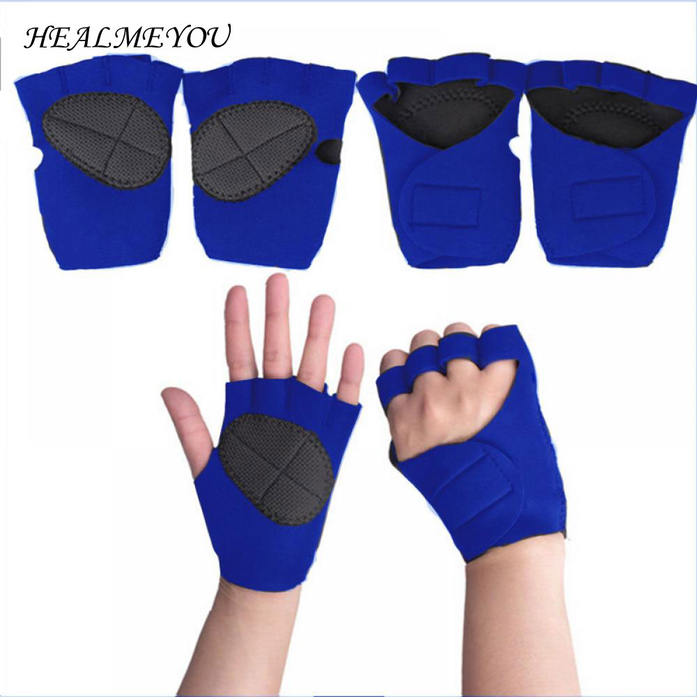 Weight Lifting Gym Gloves Cross Training Bodybuilding Fitness Workout Exercise Palm Padded Fingerless Neoprene Bar Grip Mittens