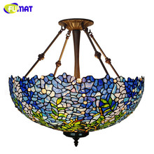 FUMAT Tiffany Pendant Lamps Blue Wistera Stained Glass Shade Hanglamp Home Art Deco LED E27 Suspension Lighting Fixture Lamp fumat stained glass pendant lamps european style baroque lights for living room bedroom creative art shade led pendant lamp
