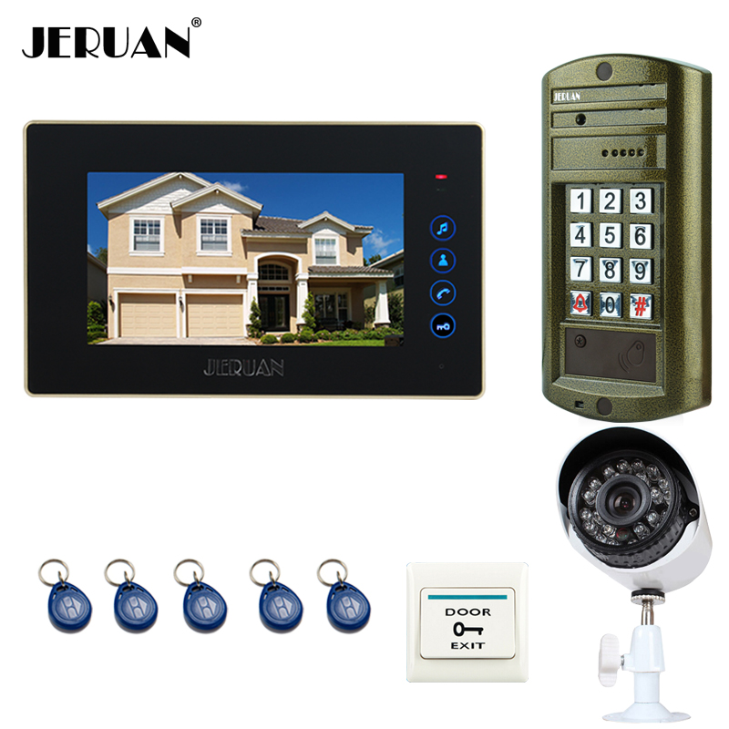 JERUAN 7`` touch key Video Intercom Door Phone System kit Metal waterproof password keypad HD Mini Camera +Analog Camera 2V1 jeruan wired 7 touch key video doorphone intercom system kit waterproof touch key password keypad camera 180kg magnetic lock