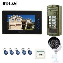 "JERUAN 7"" touch key Video Intercom Door Phone System kit  Metal waterproof password keypad HD Mini Camera +Analog Camera 2V1"