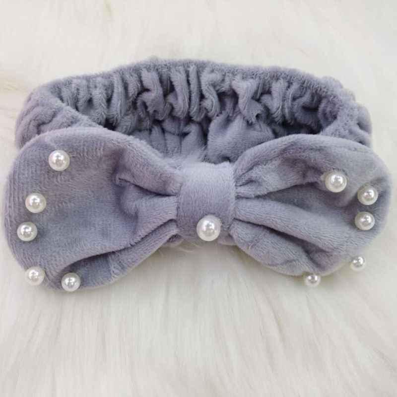 Корейская имитация жемчуга; ожерелье ободок Девушки Женщины карамельного цвета милый бант утолщенная бархатная повязка для волос Макияж Ванна Душ головной убор