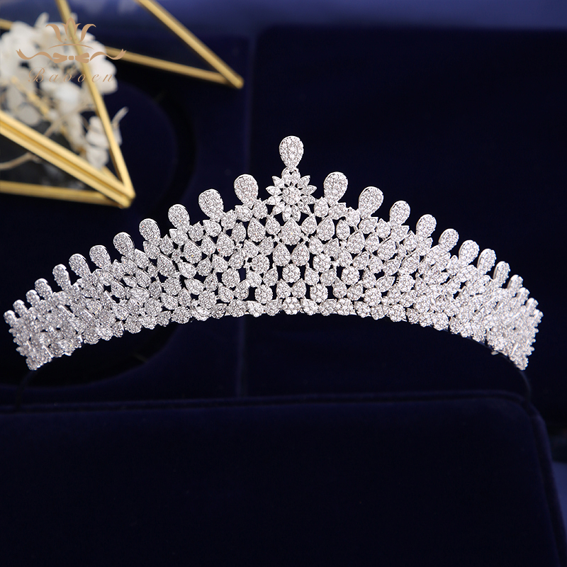 Bavoen Luxurious Brides Tiaras Crowns Full Zircon Brides Headpieces Sparkling Plated Crystal Wedding Hair AccessoriesBavoen Luxurious Brides Tiaras Crowns Full Zircon Brides Headpieces Sparkling Plated Crystal Wedding Hair Accessories