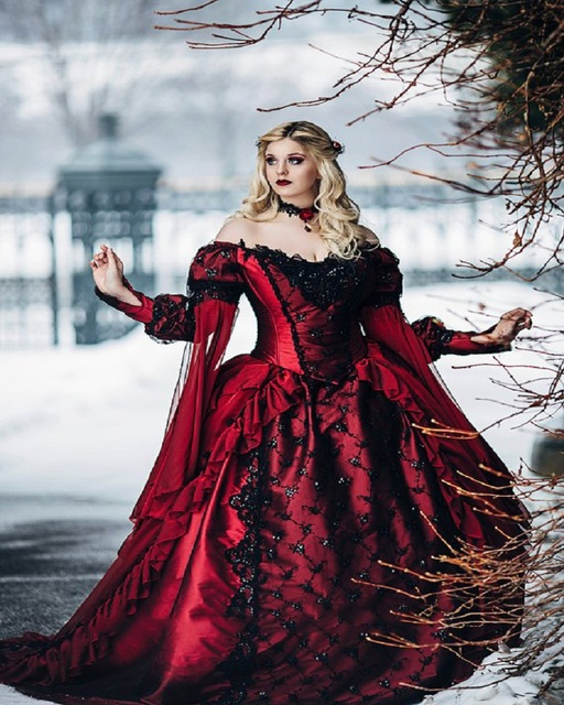 8a2beb9a9944b Gothic Sleeping Beauty Princess Medieval Red and Black Ball Gown Wedding  Dress Long Sleeve Lace Appliques Victorian Bridal Gowns