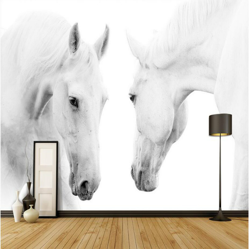 decorative painting 3d wall paper wallpaper living room bebroom backdrop home improvement White horse 3d photo silk wallpapers