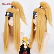 Naruto Akactuki Cosplay peruk cadılar bayramı Deidara cosplay peruk erkekler için uzun altın peruk postiş kostüm