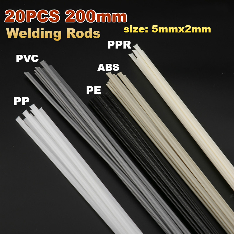 20pcs Plastic Welding Rods Bumper Repair ABS/PP/PVC/PE Welding Sticks Welding Soldering Supplies Grey White Black Beige Color