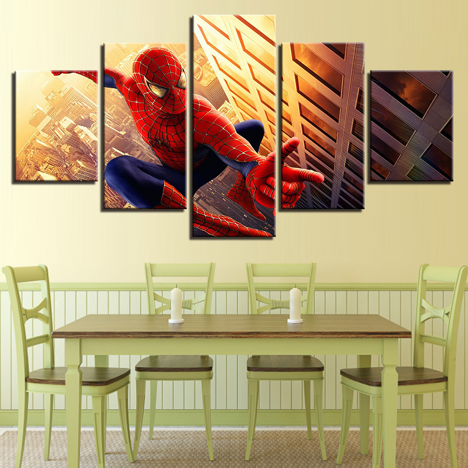 Modular Canvas Wall For Paintings Decor 5 Panel Spiderman Art Print ...