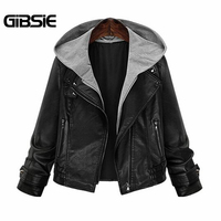 GIBSIE 2016 New Women Autumn Leather Jacket Vintage Ladies Zipper Hooded Faux Pu Leather Motorcycle Jackets