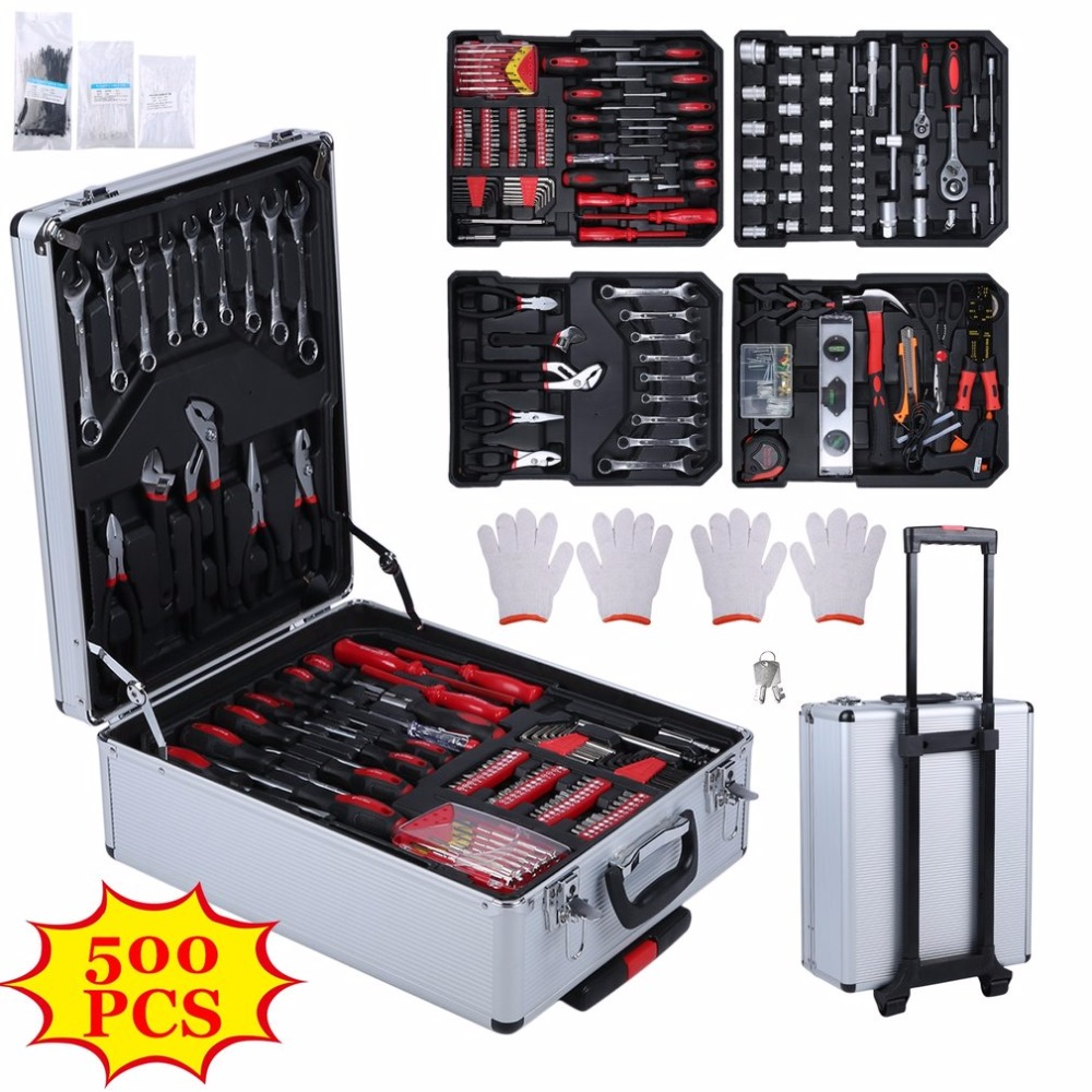 500pcs/set Organize Trolley Case Home Auto Repair Car Care Maintenance Hardware Tool Box Set Workshop Equipment Hand Tool Sets набор резьбонарезной трубный stayer professional 28260 h3