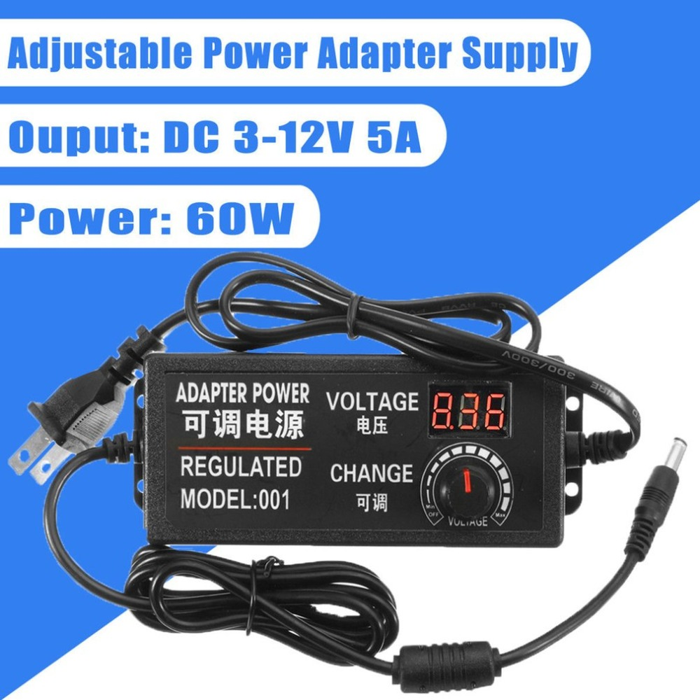 3-12V 5A 60W AC/DC Adjustable Power Supply Adapter LED Digital Display Speed Control Volt Multifunction Regulator US Plug ac dc adjustable power supply adapter 3 12v 5a voltage display speed control us plug ali88