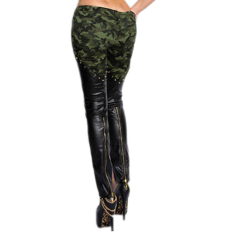 fb79a0410391a ... Plus size women fashion camouflage leather skinny jeans low rise rivets  and zippers detail punk sculpt ...