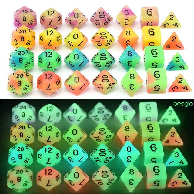 Duplo Cor Brilhante Dados Poliédricos Definida D4, D6, D8, D10, D10 %, D12, d20 para Papel Que Joga o Jogo DND e Outros Jogos de Tabuleiro MTG