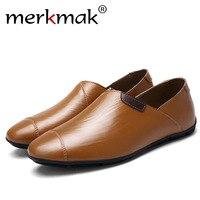 Merkmak Handmade Genuine Leather Men Loafers Soft Shoes Casual Brand Comfortable Autumn Winter Warm Fur Slip
