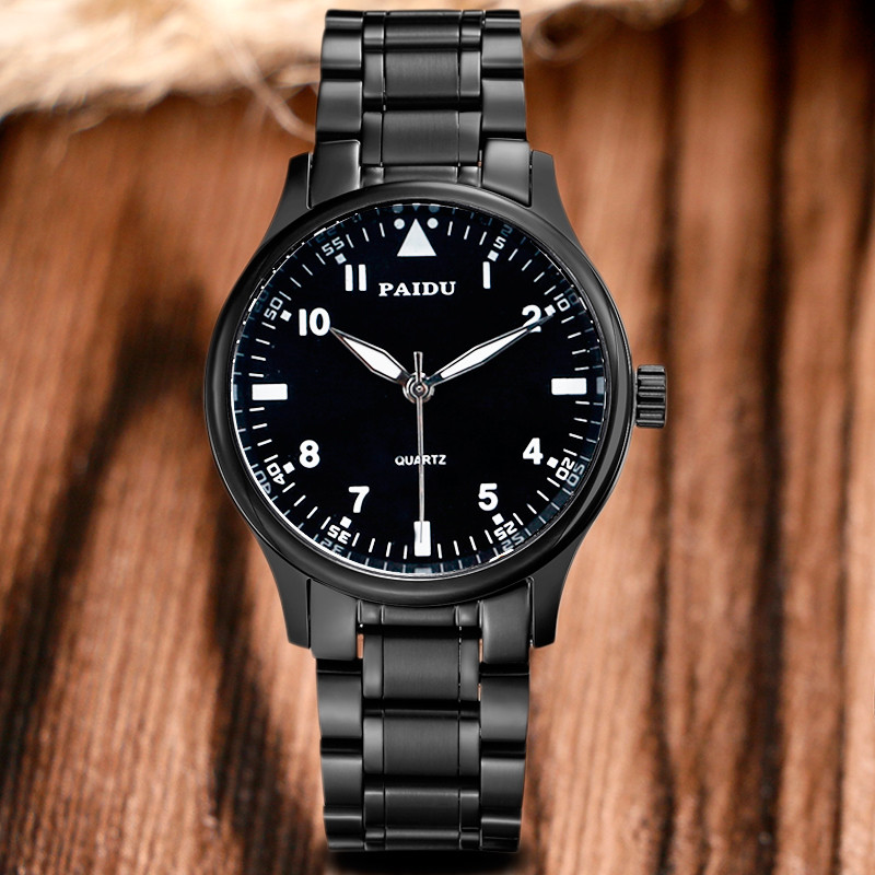 Paidu Cool Men Pilot Watch Luxury Dashborad Dial Full Stainless Steel Business Male Dress Wristwatch High Quality Military Clock luxury high quality genuine leather quartz business dress wrist watch wristwatches for men male stainless steel dial op001