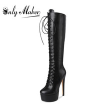 onlymaker Women's Sexy Platform Front Lace-Up High Heel Stiletto Stretch Over The Knee High Boot US5~US15 plus size women boots