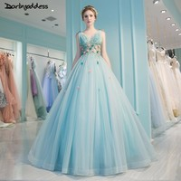 Robe De Mariage Sexy Open Back Ball Gown Lace Wedding Dresses 2018 Luxury Light Blue Beading