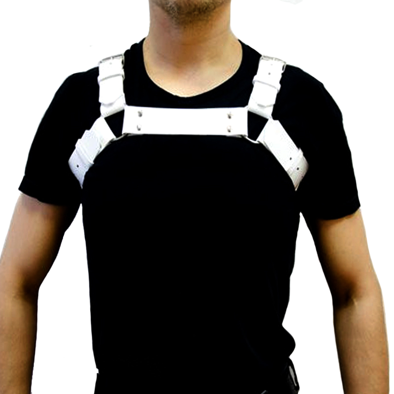 Men/'s Faux Leather Adjustable Body Armor Chest Harness Shoulder Buckles Costumes