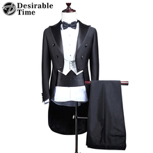 Custom Made Mens 3 piece Suits With Pants For Wedding Groom Slim Fit Costume Homme Mens Black Party Tuxedo Tailcoat DT136