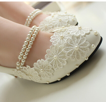 Just Perfect!!! Beautiful delicate handmade wedding shoe for brides new design straps flower pearl decor bridal shoes XNA 098