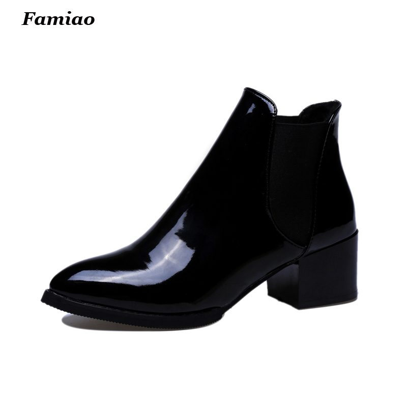 2016 Fashion British Bullock Style Women Ankle Boots High Quality Pointed Toe Chunky Heel Chelsea Patent Boots Oxford Shoes pointed toe cuban heel buckle full grain women real leather boots faux fur chelsea ankle slip on martin british euro style