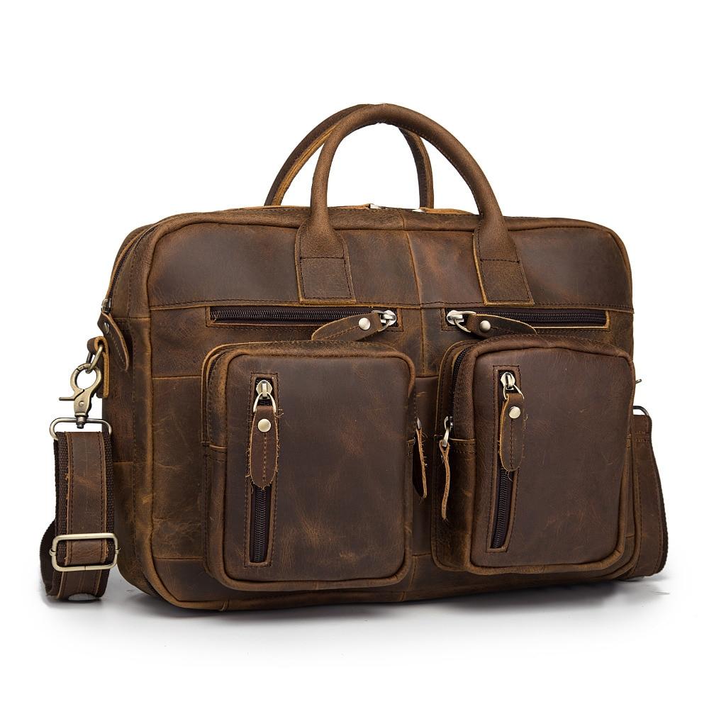 Original Leather Man Bag Design Multifunction Purpose Large Capacity Commercial Briefcase 15