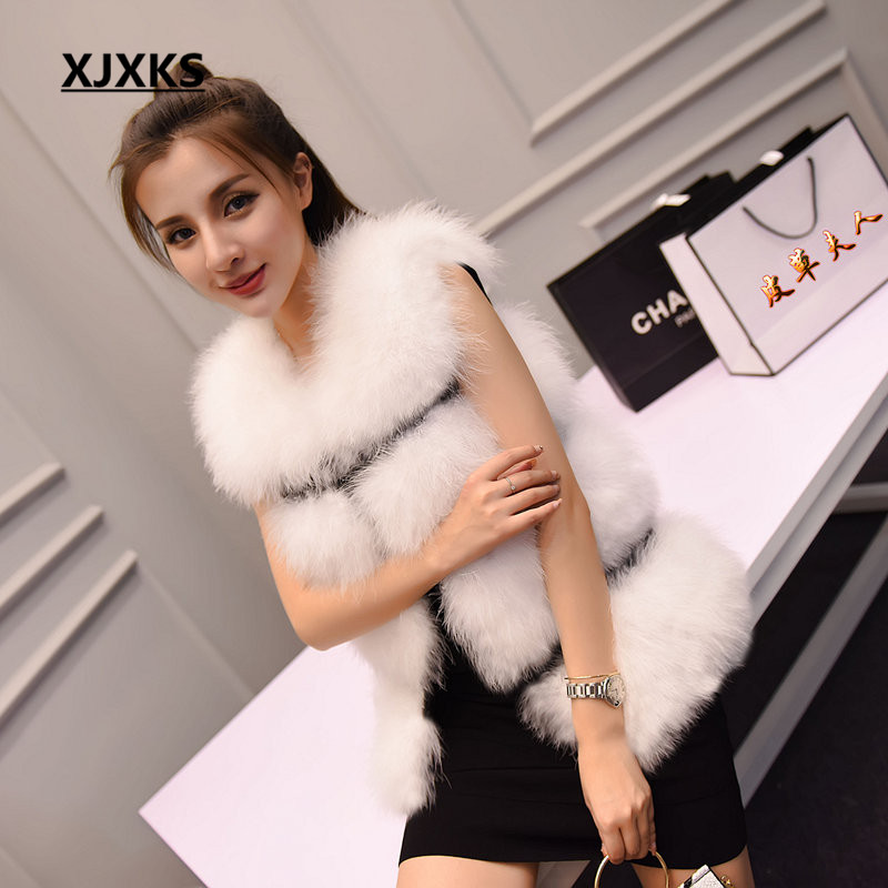 2017 new autumn and winter women 100% natural fur warm Ostrich feather the vest round neck was thin Slim coat to real fur vest