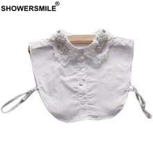 SHOWERSMILE Removable Collar Women White Cotton Detachable Female Rhinestone Fashion Korean Shirt Lapel Fake False