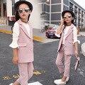 Новые девушки 3 шт. одежда костюм жилет белая рубашка и брюки высокое качество зима верхняя одежда костюм для детей девушки одежда