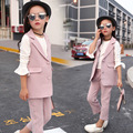 New girls 3pcs clothing suit vest white shirt and trousers high quality winter outerwear clothing suit for kids girl clothes