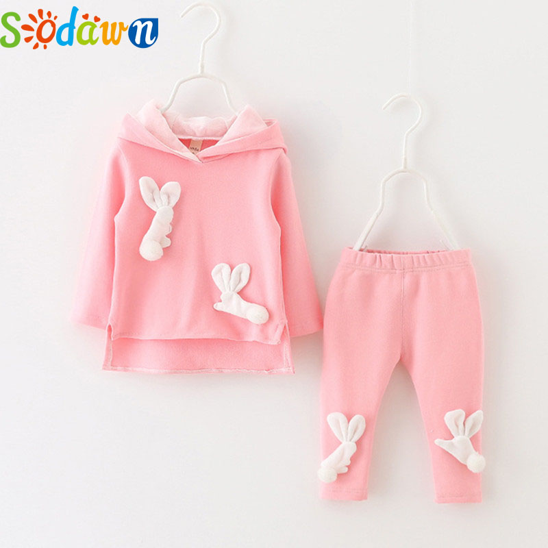 Sodawn Autumn New Baby Girls Clothing Set2017 Cotton Animal Cartoon Long Rabbit Hooded Coat+Pants 2Pcs Newbor Baby Girls Clothes cotton baby rompers set newborn clothes baby clothing boys girls cartoon jumpsuits long sleeve overalls coveralls autumn winter