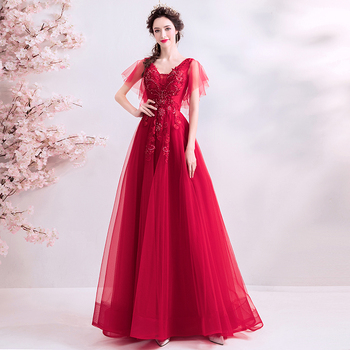 Full Length Red Prom Dresses V-Neck Appliques Beaded New Arrival Formal Party Dresses Short Sleeves Lace Up Back Prom Gowns